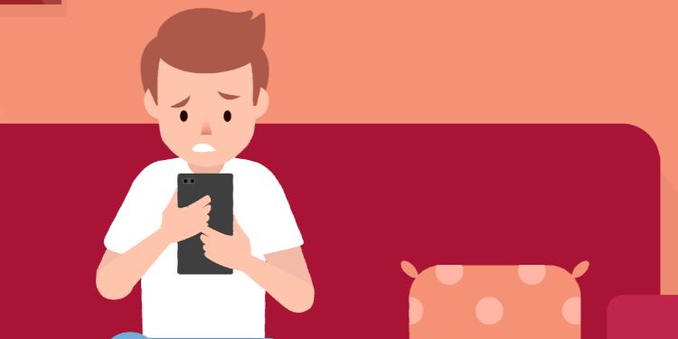 Child on smartphone illustration