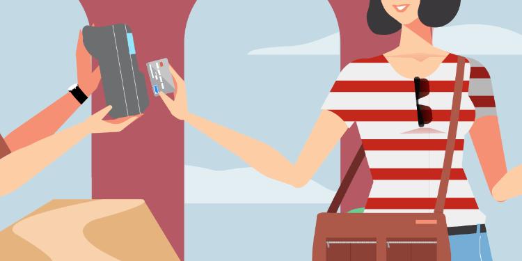Paying on holiday illustration