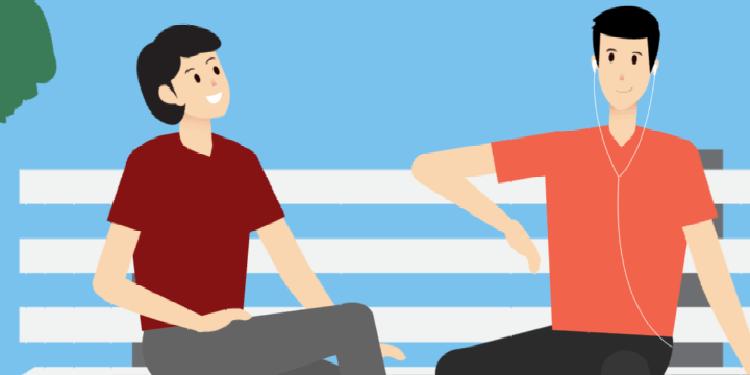 Dos amigos en un parque disfrutan de aire fresco (ilustración de Generali).png